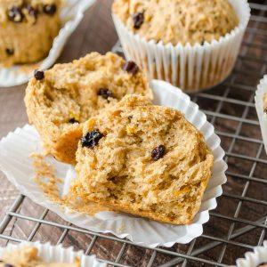 close up of irish soda bread muffins cut in half