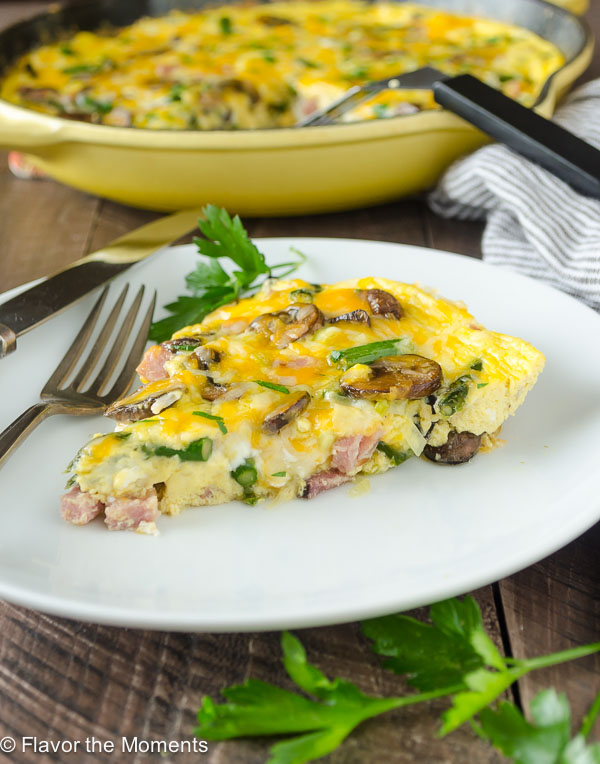 serving of ham and cheese frittata on a plate