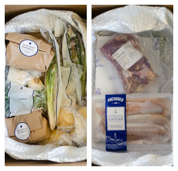 Blue apron packaging collage