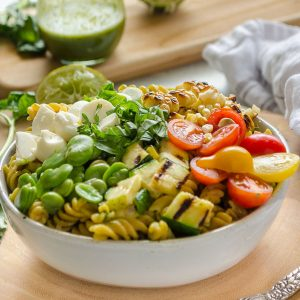 summer succotash pasta salad in white bowl