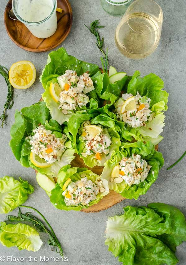 tarragon chicken salad wraps on a serving platter