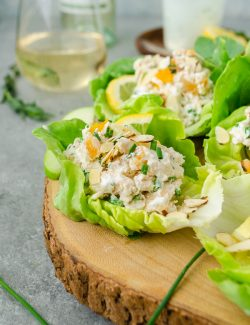 Lemon tarragon chicken salad wraps on serving platter