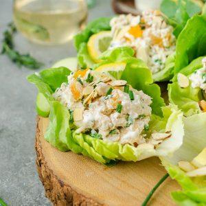 Lemon tarragon chicken salad wraps on serving platter