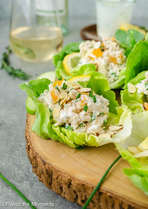 close up of tarragon chicken salad wrap