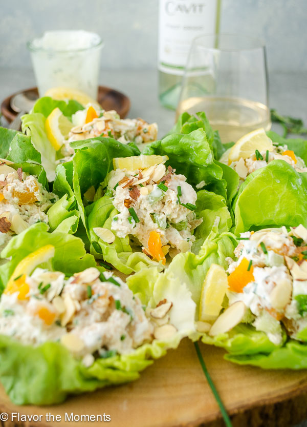 tarragon chicken salad wraps close up