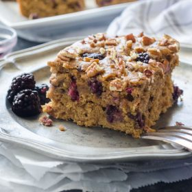 One Bowl Healthy Blackberry Snack Cake is super moist and made with 100% whole grains and no refined sugar! It's packed with fresh blackberries, applesauce, and topped with pecans for the ultimate wholesome treat! @FlavortheMoment