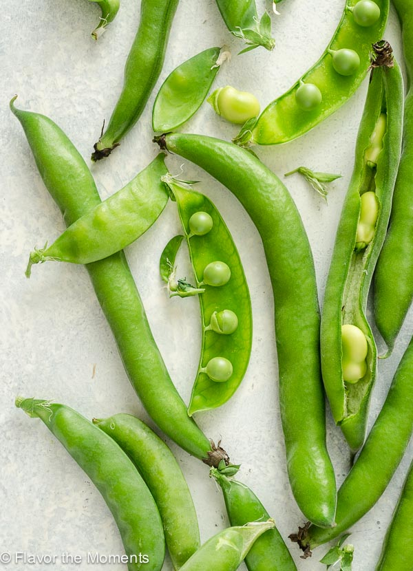 Snap peas and fava beans close up