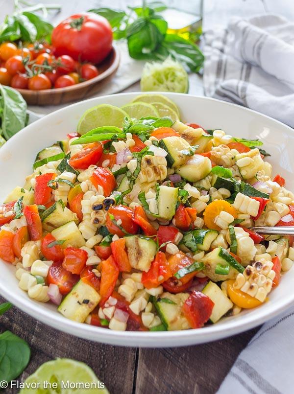 Basil Lime Charred Corn and Zucchini Salad - Flavor the ...