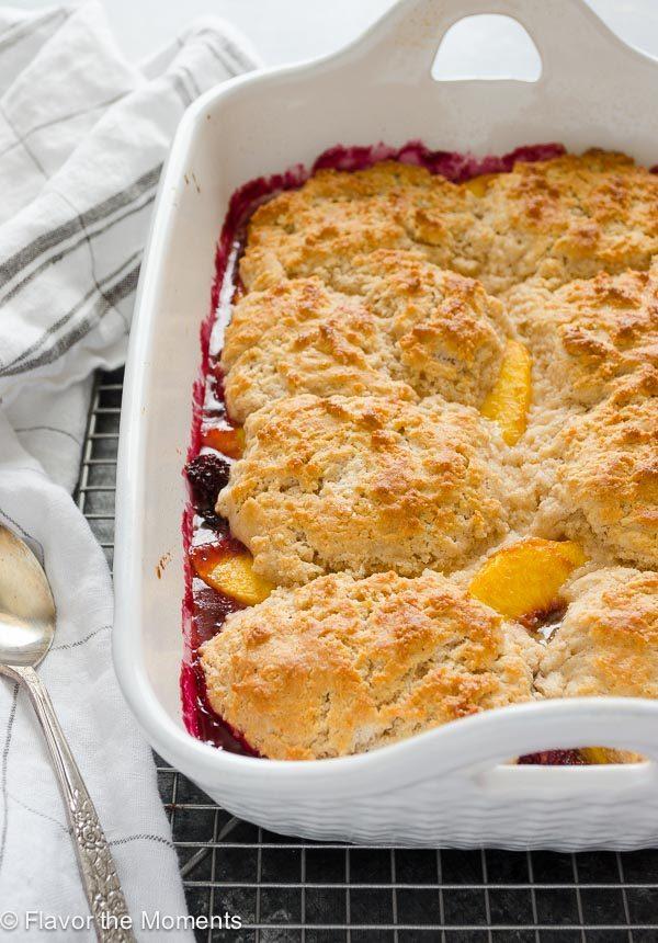 Peach blackberry cobbler in baking dish