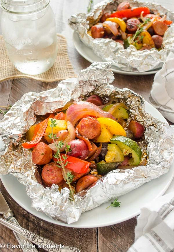 Sausage foil packets with potatoes, peppers and zucchini