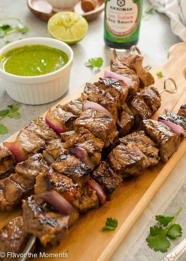 Honey Soy Grilled Steak Kebabs with Cilantro Lime Sauce are tender, flavorful chunks of beef served with a fresh cilantro lime sauce! @FlavortheMoment