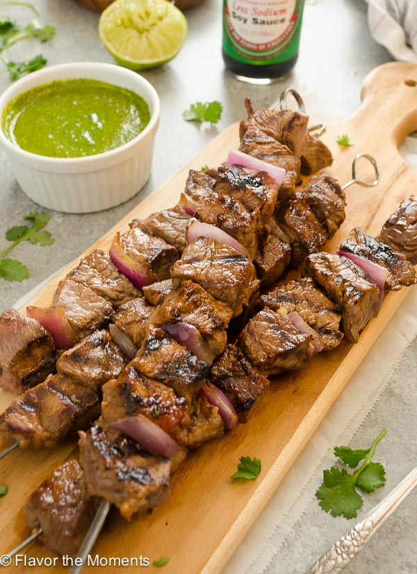 Honey Soy Steak Kebabs with Cilantro Lime Sauce - Flavor ...