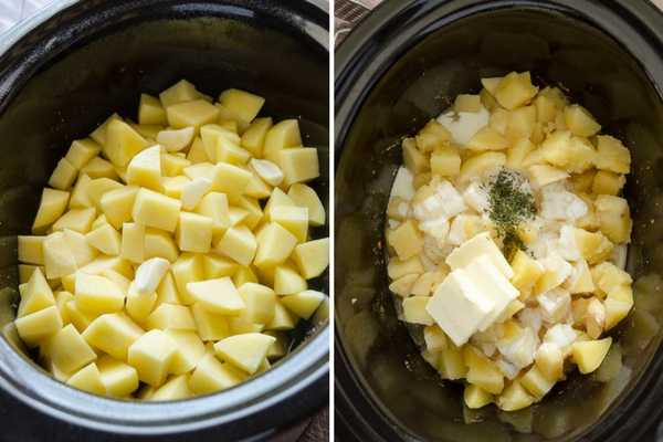 slow cooker mashed potatoes process collage