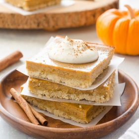 Easy Pumpkin Pie Bars with Oat Crust are the quick and easy way to enjoy pumpkin pie!  They take only 15 minutes of prep with no dough rolling required! @FlavortheMoment