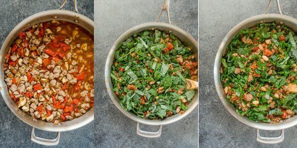 how to make sausage kale lentil skillet collage