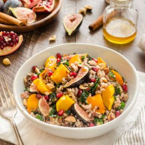 Wild rice salad with figs, delicata squash and pomegranate