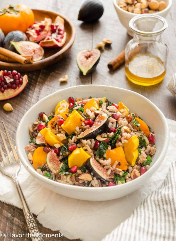 Roasted delicata squash wild rice salad in a bowl