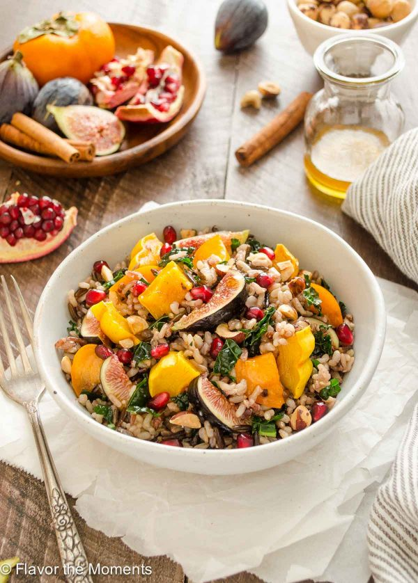 Delicata squash, fig and pomegranate wild rice in a bowl