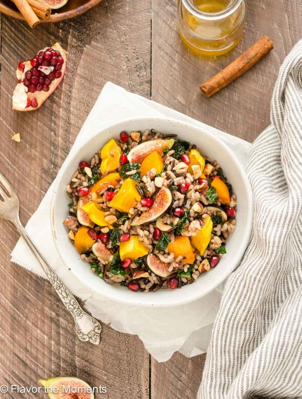 Roasted Delicata Squash, Fig and Persimmon Wild Rice Salad in a bowl