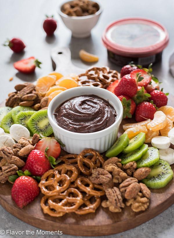 chocolate hummus snack board