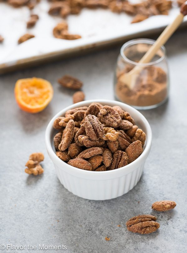 Chai spice maple candied nuts in bowl