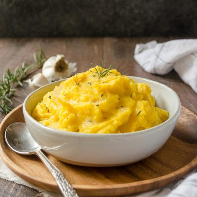 Creamy Kabocha Squash Mashed Potatoes are kabocha squash and yukon gold potatoes mashed to creamy perfection.  They're creamy, festive and so flavorful!