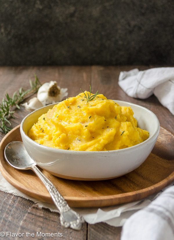 Creamy Kabocha Squash Mashed Potatoes is kabocha squash and yukon gold potatoes mashed to creamy perfection.  They're creamy, festive and so flavorful!