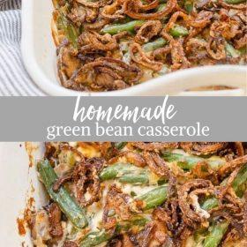 homemade green bean casserole collage