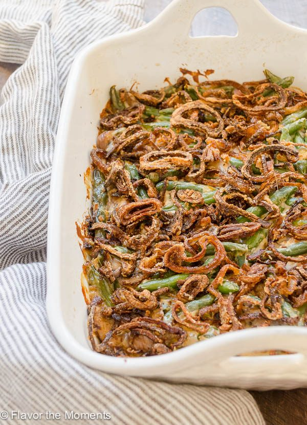 Homemade Green Bean Casserole with Crispy Fried Shallots is made 100% from scratch with fresh green beans and no condensed soup or french fried onions!