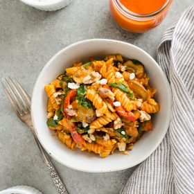Roasted Red Pepper Pasta with Goat Cheese, Mushrooms and Spinach is a gluten-free vegetarian pasta tossed in a creamy homemade roasted red pepper sauce!