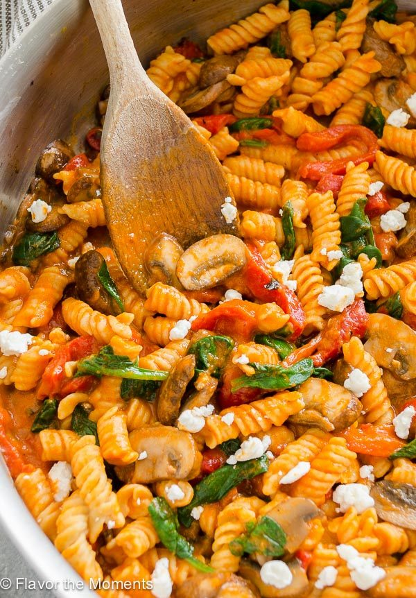 Roasted Red Pepper Pasta with Goat Cheese, Mushrooms and ...