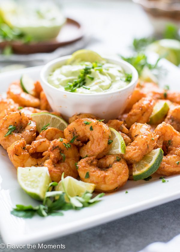platter of blackened shrimp with avocado ranch dip