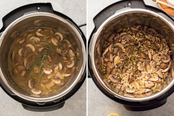 instant pot wild mushroom risotto process collage