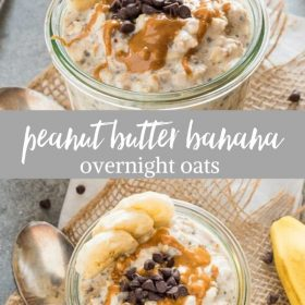 peanut butter overnight oats collage