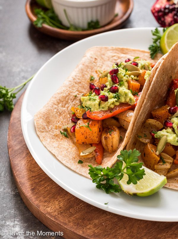Close up of roasted butternut squash fajitas