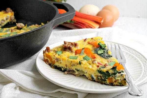 Frittata on white plate