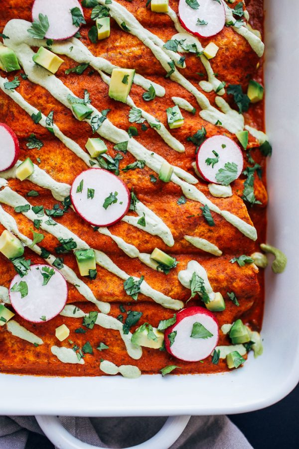 Swiss chard mushroom enchiladas in baking dish