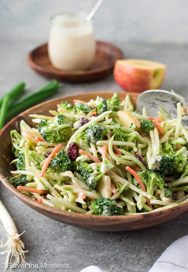 Broccoli Slaw Salad with Creamy No Mayo Dressing is a broccoli florets and broccoli slaw with apple, cranberries and almonds in a creamy no mayo dressing! {GF, DF, V}