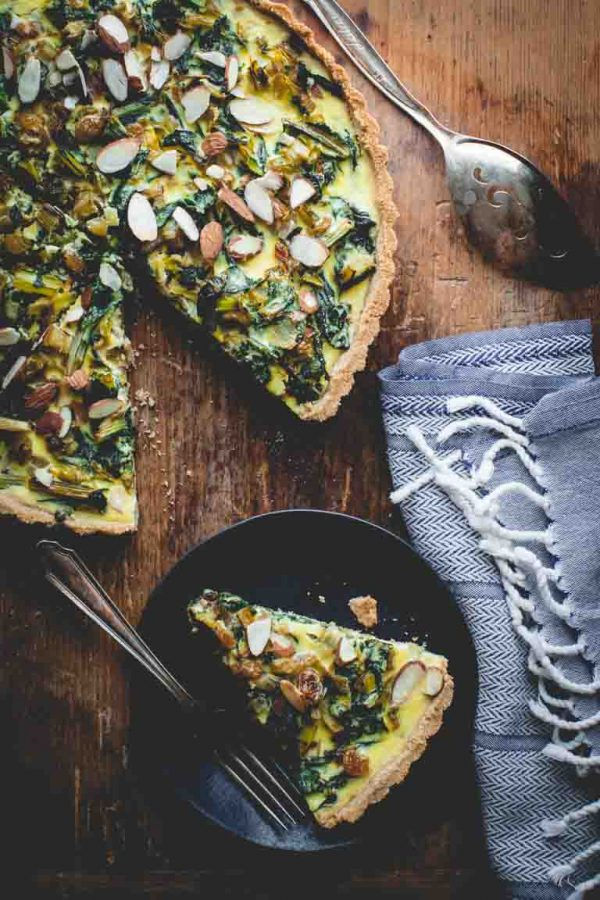 Chard tart on cutting board