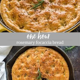 one hour rosemary focaccia bread collage