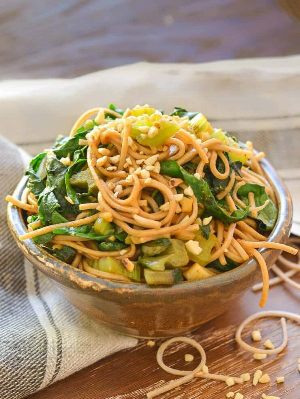 Swiss chard soba noodle stir fry in bowl
