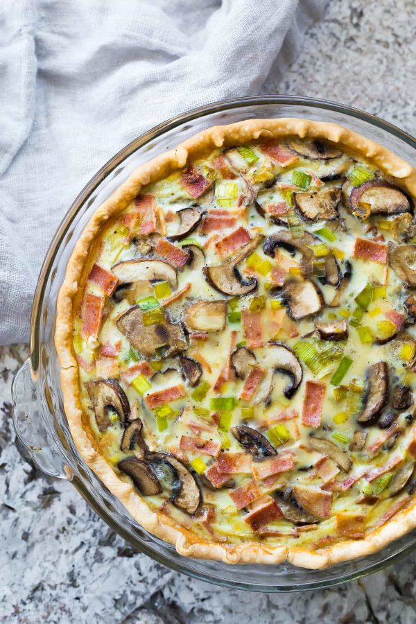 Make ahead quiche in baking dish