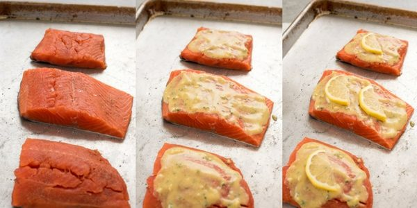 baked lemon dijon salmon process collage