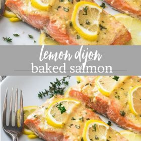 lemon dijon baked salmon collage
