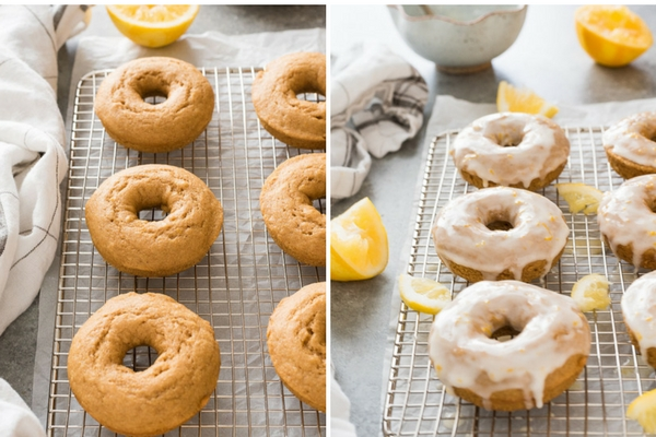 Lemon donuts with and without glaze collage