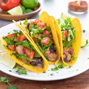 oven baked tacos on white plate