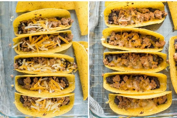 oven baked turkey tacos in baking dish before and after baking