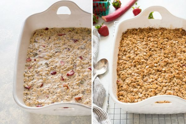 How to make Strawberry rhubarb baked oatmeal collage 2