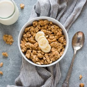Perfect Peanut Butter Granola is a healthier granola with no refined sugar, minimal oil and big peanut butter flavor.  It's naturally vegan and gluten-free!