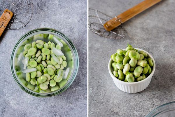 Collage of cooked fava beans in ice bath and drained in ramekin
